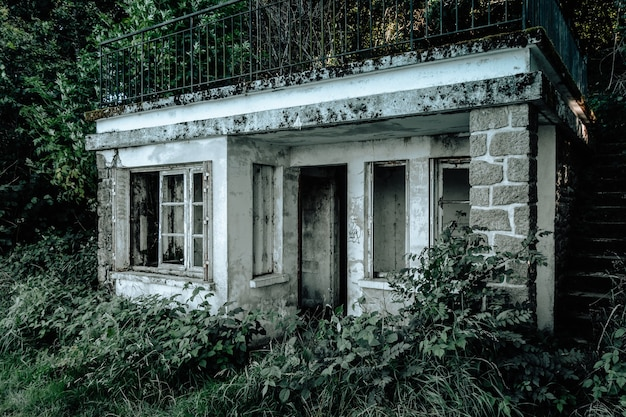 Old dirty abandoned house in a forest