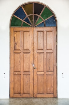 Old door with colorful glass