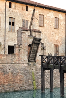 Old drawbridge on a castle wall