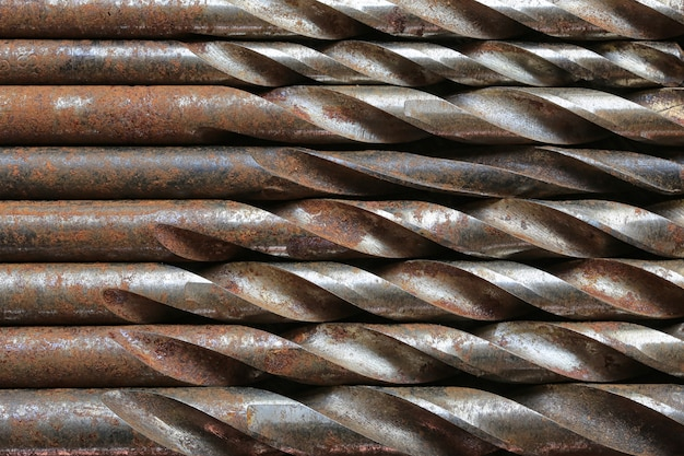 Old drill steel background.