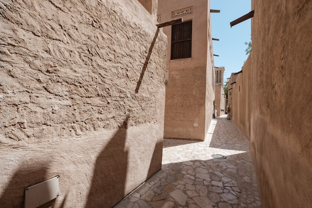 Old dubai. traditional arabic streets in historical