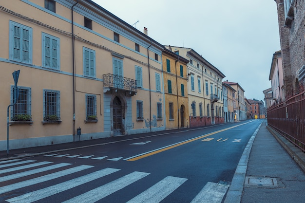 Old empty street early morning view in ravenna, italy