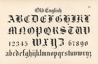 Old English calligraphy fonts from Draughtsman's Alphabets by Hermann Esser