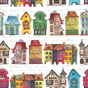 Old europe houses seamless pattern.