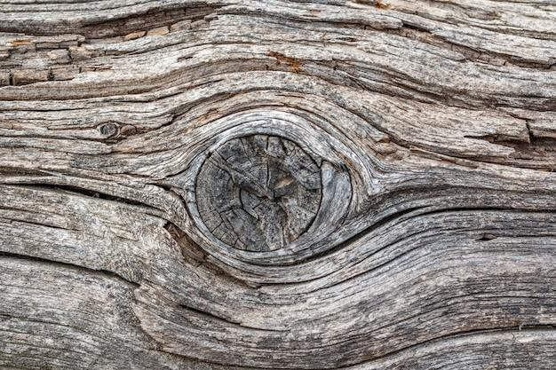 サンプルコンセプトの建設、食品、または工業用フラットレイヤーのモックアップまたはデザインパターンの結び目テクスチャ背景を持つ古い色あせた木材。