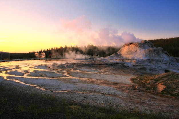 Old faithful geyser route at dusk