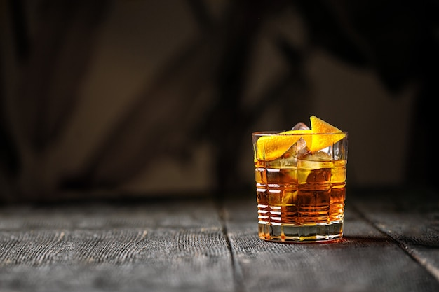 Old fashion cocktail with bourbon in a rocks glass