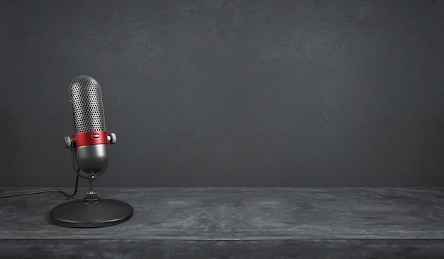 Old fashion retro silver and red color chrome with button design microphone on cement background