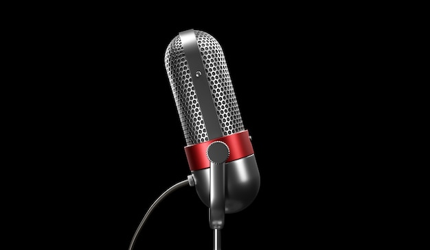 Old fashion retro silver and red color chrome with button design microphone isolated on black background