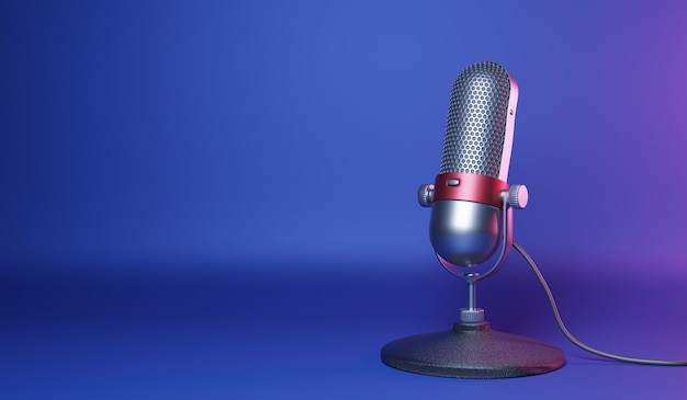 Old fashion retro silver and red color chrome with button design microphone isolated on blue background