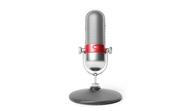 Old fashion retro silver and red color chrome with button design microphone isolated on white background