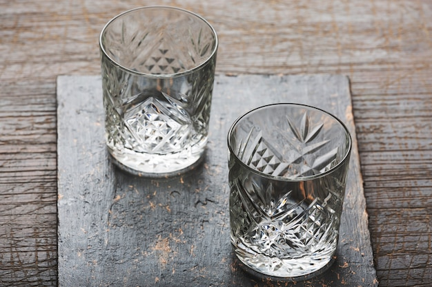 Old-fashioned glasses for alcoholic drinks