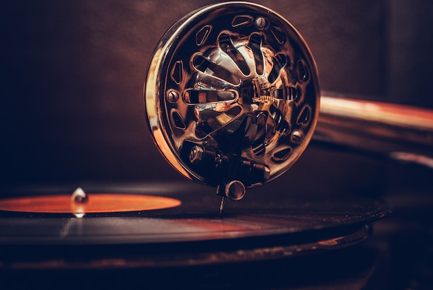 Old fashioned gramophone player close up. detail