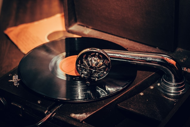 Old fashioned gramophone player close up