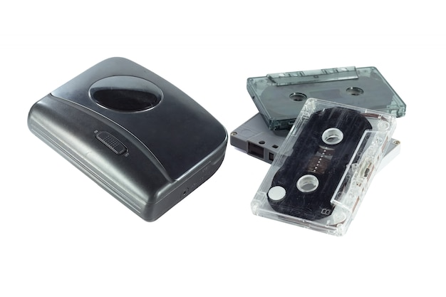 Old fashioned music of cassette player and cassette tape isolated