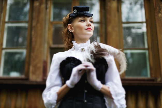 Old-fashioned victorian model posing