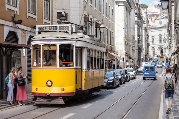 Old-fashioned yellow tram