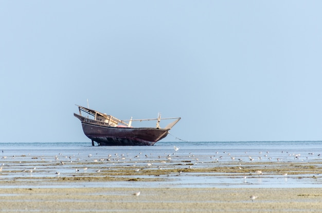 An old fishing dhow stranded at low tide in quiet shallow waters