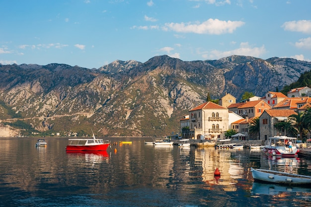 The old fishing town of perast on the shore of kotor bay