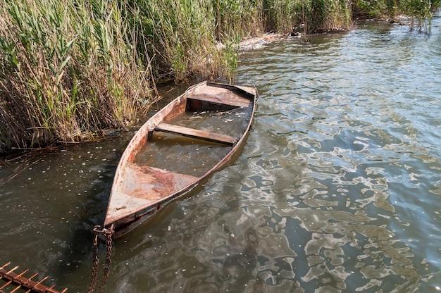 葦の古い氾濫したボート。湖で晴れた日。