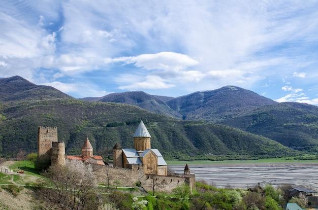山々を背景にした海岸の古い要塞