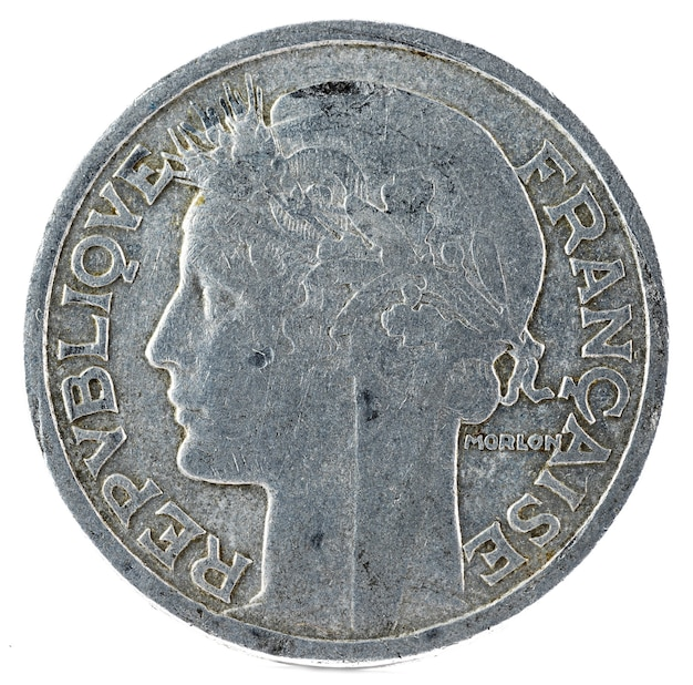 Old french coin. 2 francs. obverse.