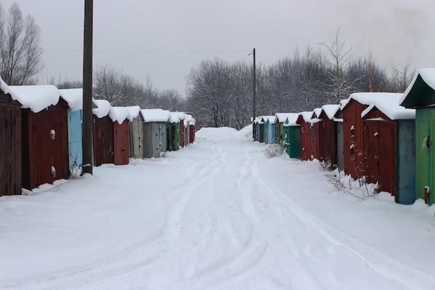 Old garage station in winter