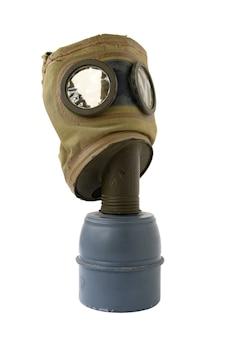 Old gas mask on white