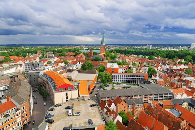 Old german town of lubeck. old historic city in germany. panorama of small town.