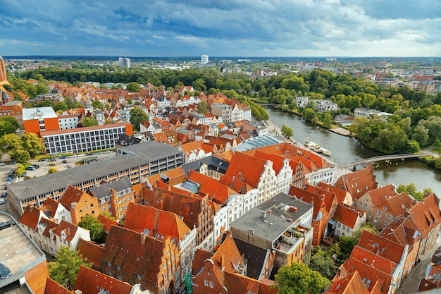 Old german town of lubeck on river trave.