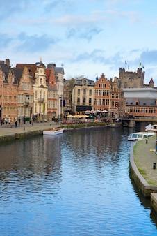 Old   graslei harbor at day, ghent, belgium