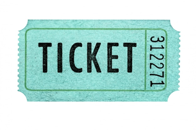 Old green admission ticket isolated against a white background.