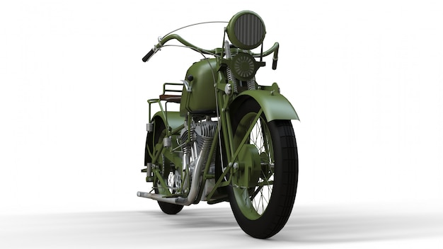 An old green motorcycle