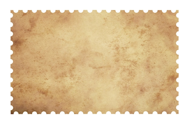 Старый гранж чистый лист бумаги почтовая марка, изолированные на белом фоне