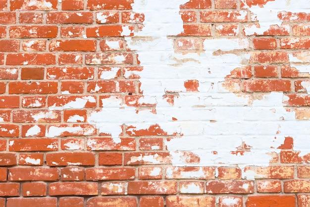 古いグランジのレンガの壁のテクスチャ。剥離石膏でレンガの背景。抽象的なwebバナー。コピースペース。