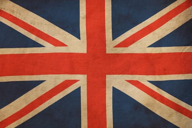 Старый гранж винтаж выветривания великобритании национальный холст флаг фон