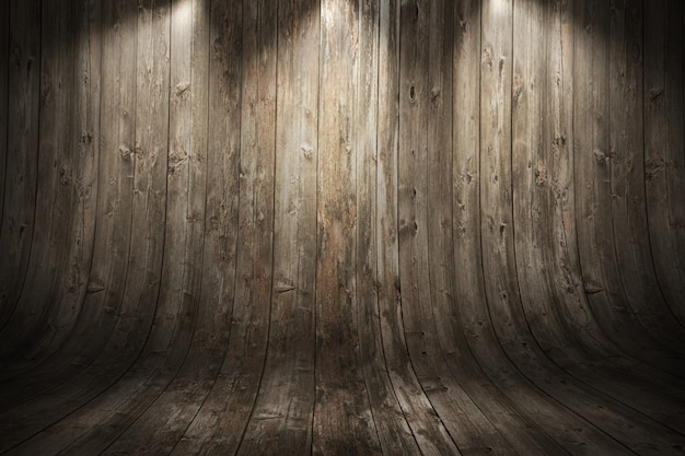 Old grungy curved wooden background