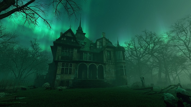 Old haunted abandoned mansion in creepy night forest with cold fog atmosphere 3d rendering