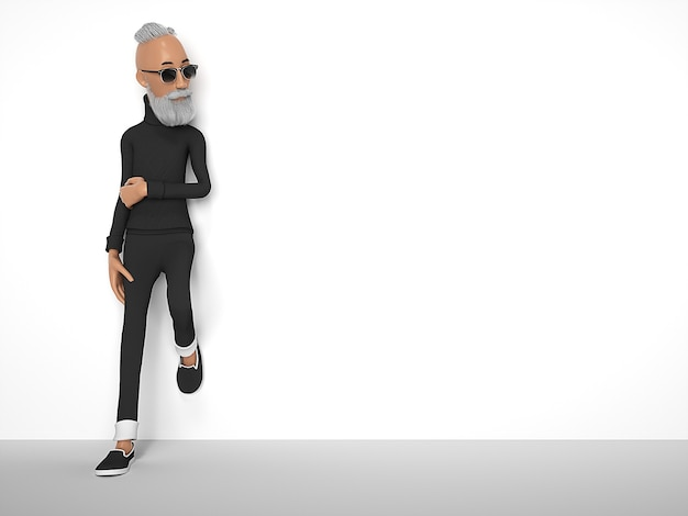 ひげの様式化された漫画のキャラクターを持つ古い流行に敏感な男。 3dレンダリング
