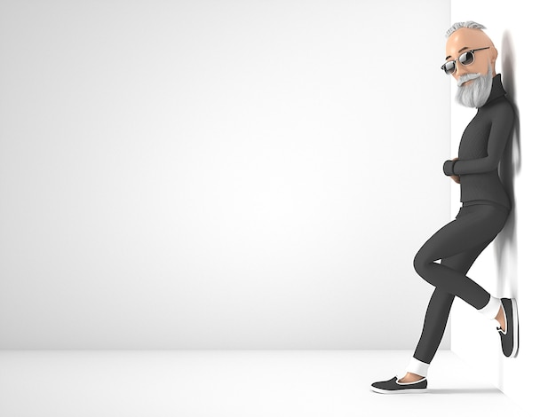Old hipster guy with beard stylized cartoon character. 3d rendering