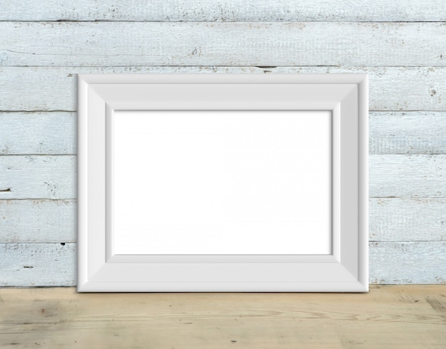 Old horizontal a4 white wooden frame mockup stands on a wooden table on a painted white wooden background. rustic style, simple beauty. 3d render.