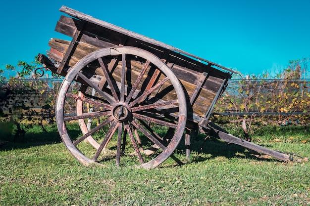 Старая лошадиная повозка с фоном виноградника