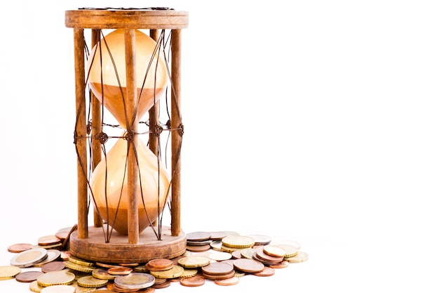 Old hourglass (made in india, xix century) with euros