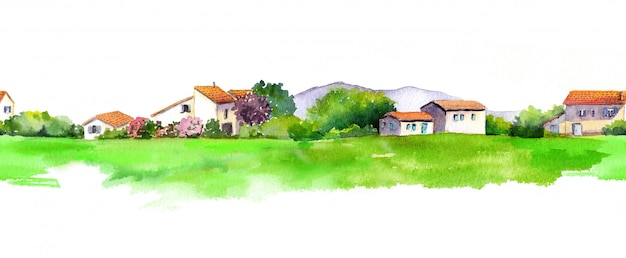 Старый дом и зелёный луг.