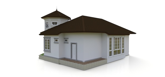 ビクトリア朝様式の古い家。白い背景のイラスト。さまざまな側面からの種。 3dレンダリング。