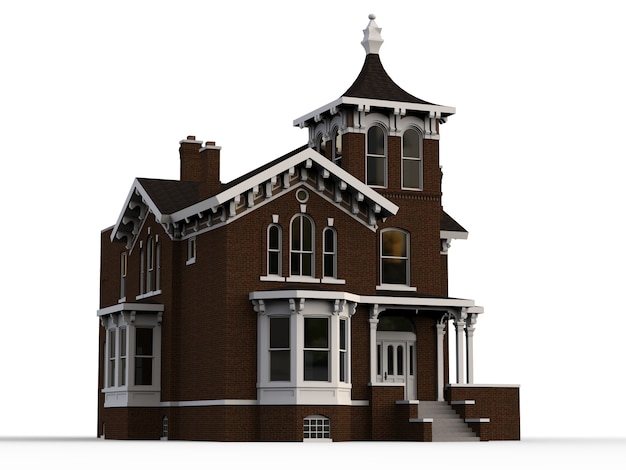 ビクトリア朝様式の古い家。白い背景のイラスト。異なる側面からの種
