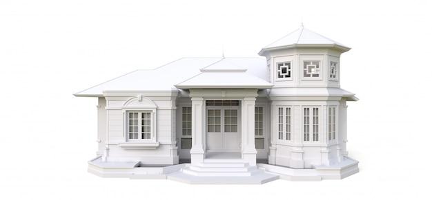 Старый дом в викторианском стиле. иллюстрация на белой поверхности. виды с разных сторон