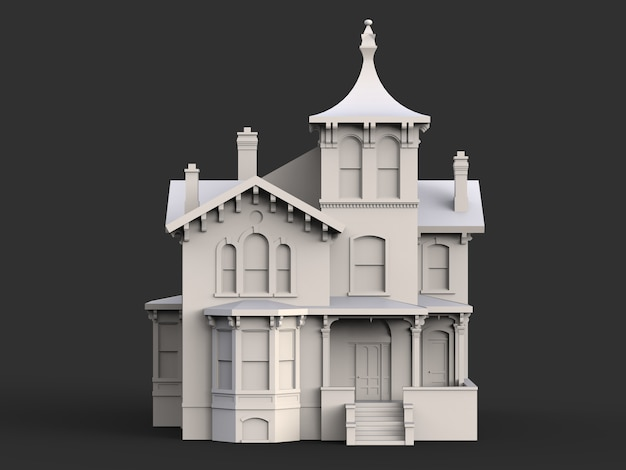 Old house in victorian style. illustration on black surface. species from different sides