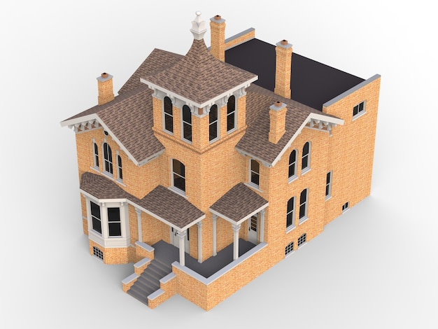 Old house in victorian style. illustration on white background. species from different sides. 3d rendering.
