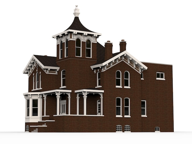 Old house in victorian style. illustration on white space. species from different sides. 3d rendering.